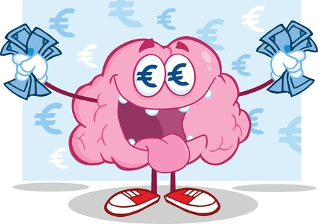 Euro Money Loving Brain Character Stock Vector - 21020846