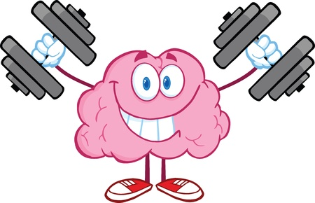 concentration: Smiling Brain Cartoon Character Training With Dumbbells