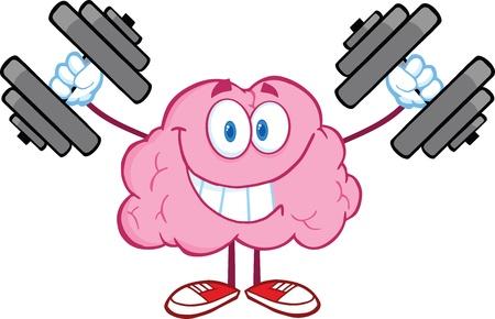 sorridente: Sorrindo C�rebro dos desenhos animados de treinamento personagem com Halteres Ilustração
