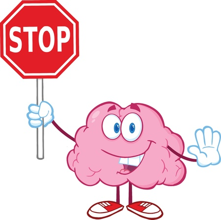 Brain Cartoon Character Holding A Stop Sign