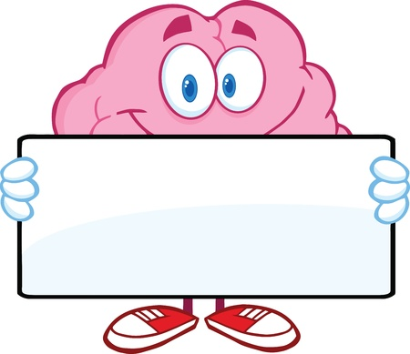 critical thinking: Brain Cartoon Character Holding A Banner