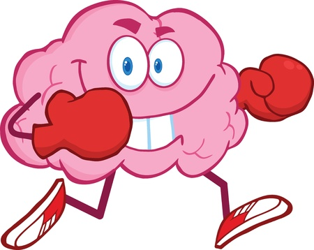 Brain Cartoon Character Running With Boxing Gloves Vector