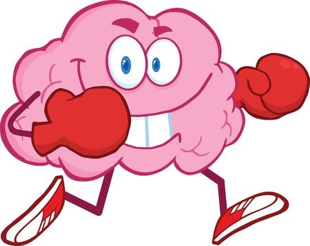 guantes boxeo: Cerebro personaje de dibujos animados que se ejecuta con los guantes de boxeo Vectores