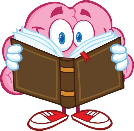 medical drawing: Smiling Brain Cartoon Character Reading A Book Illustration