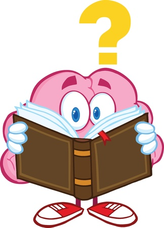 Surprised Brain Cartoon Character Reading A Book With Question Mark Illustration