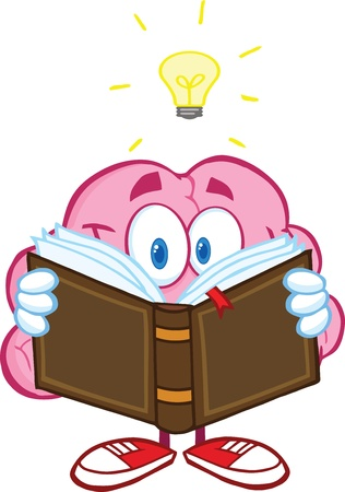 Smiling Brain Cartoon Character Reading A Book Under Light Bulb Çizim