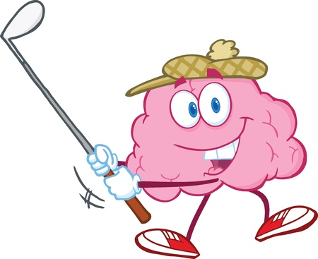 Smiling Brain Cartoon Character Swinging A Golf Club Vector