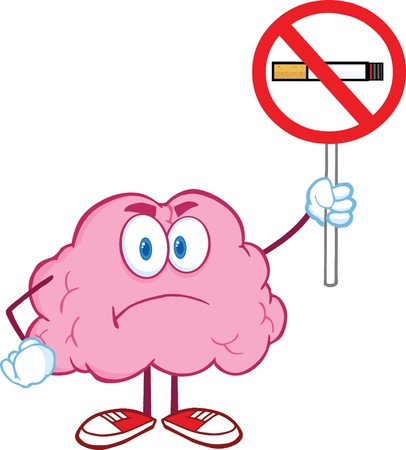 Angry Brain Cartoon Character Holding up A No Smoking Sign