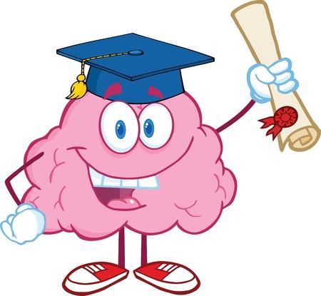 mente humana: Graduado feliz Carácter cerebral que soporta un Diploma