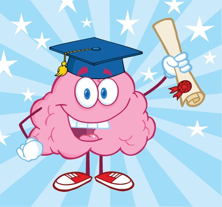 parietal: Happy Brain Graduate Holding up A Diploma
