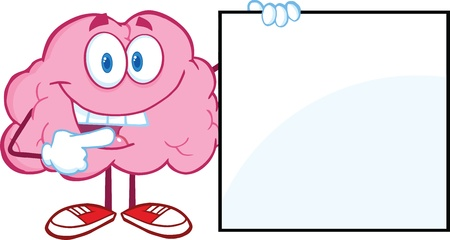 human mind: Happy Brain Cartoon Character Showing A Blank Sign Illustration