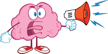 Angry Brain Cartoon Character Screaming Into Megaphone Vector
