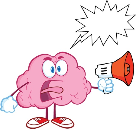 cartoon brain: Angry Brain Character Screaming Into Megaphone With Speech Bubble Illustration