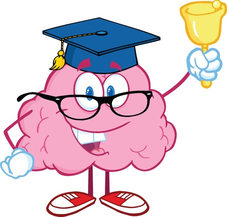 Smiling Brain Teacher  Character Ringing A Bell Vector