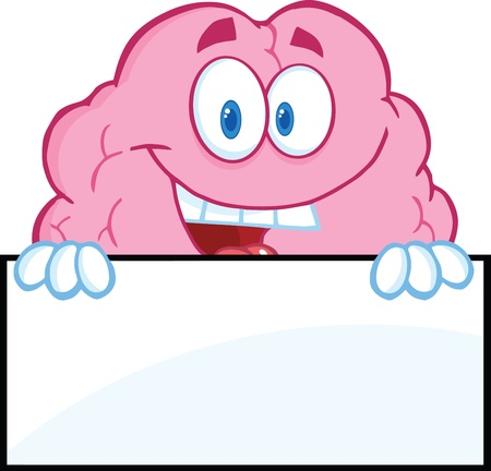 Smiling Brain Character Over A Blank Sign Stock Vector - 21127334