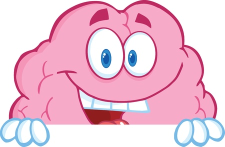 Smiling Brain Cartoon Character Over A Blank Sign Vector