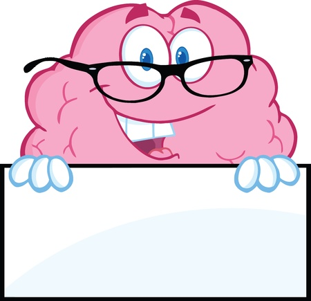 Smiling Brain Character  With Glasses Over A Blank Sign Stock Vector - 21127337