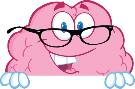 Smiling Brain Cartoon Character  With Glasses Over A Blank Sign Иллюстрация
