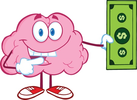Happy Brain Cartoon Character Showing A Blank Sign Stock Vector - 21127342