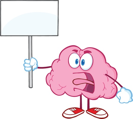 Angry Brain Cartoon Character Screaming And Holding Up A Blank Sign