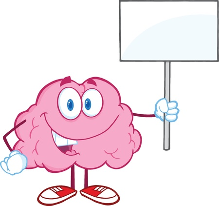 parietal: Happy Brain Character Holding Up A Blank Sign