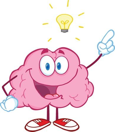 Gelukkige Hersenen Karakter Met Een Groot Idee Stock Illustratie