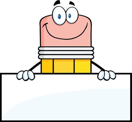 papírnictví: Usmívající se Tužka Cartoon Character Over prázdný znak Ilustrace