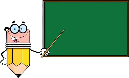 blackboard cartoon: Smiling Pencil Teacher Character With A Pointer In Front Of Chalkboard Illustration