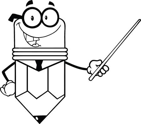 pencil cartoon: Contorno de negocios l�piz de dibujos animados que sostiene un puntero