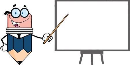 Business Pencil Cartoon Character With Pointer Presenting On A Board