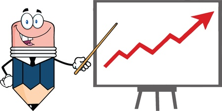 progressive: Business Pencil Cartoon Character With Pointer Presenting A Progressive Arrow
