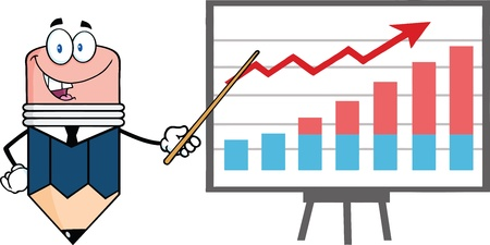 progressive: Business Pencil Cartoon Character With Pointer Presenting A Progressive Chart Illustration
