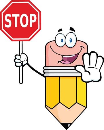 schreibkr u00c3 u00a4fte: Bleistift Cartoon-Maskottchen-Charakter mit einem Stop-Schild