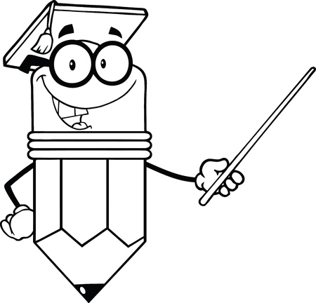 Outlined Smiling Pencil Teacher With Graduate Hat Holding A Pointer Vector
