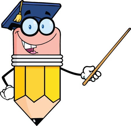 Smiling Pencil Teacher With Graduate Hat Holding A Pointer Vector