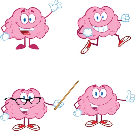 Brain Cartoon Mascot Collection 1 Vector