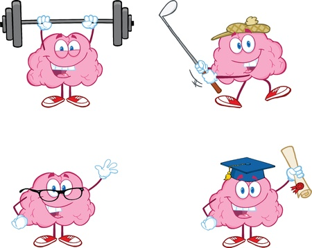 Brain Cartoon Mascot Collection 2 Vector