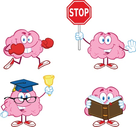 Brain Cartoon mascotte Collection 3 Stock Illustratie