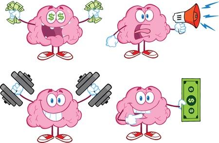두뇌 만화 마스코트 콜렉션 4 스톡 콘텐츠 - 21220311