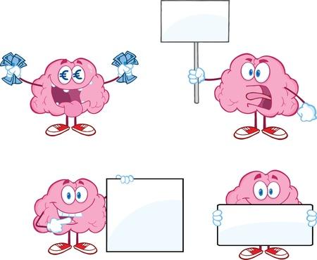 Brain Cartoon Mascot Collection 6 Ilustrace