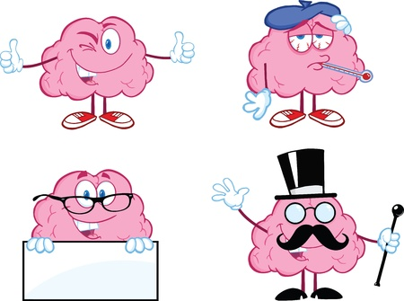 Brain Cartoon Mascot Collection 7 Vector