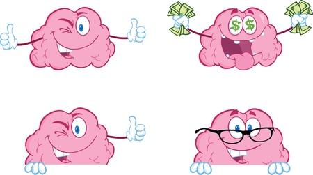 Brain Cartoon Mascot Collection 8  イラスト・ベクター素材