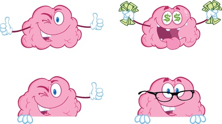 Brain Cartoon Mascot Collection 8 Stock Illustratie