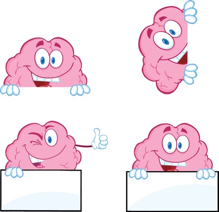 Brain Cartoon Mascot Collection 9 Vector