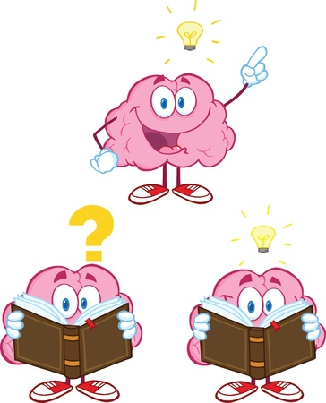 Brain Cartoon Mascot Collection 10 Vector
