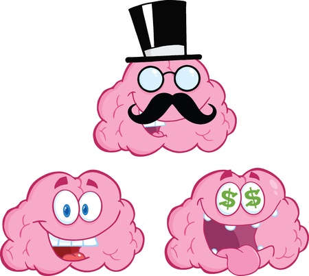 Brain Cartoon Mascot Collection 12 Vector