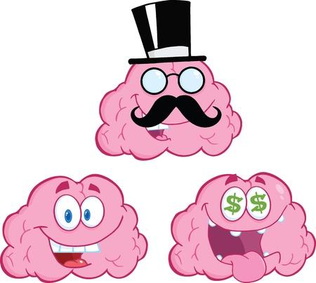 Brain Cartoon Mascot Collection 12 Stock Vector - 21220323