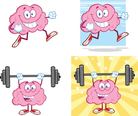 Brain Cartoon Mascot Collection 14 Vector