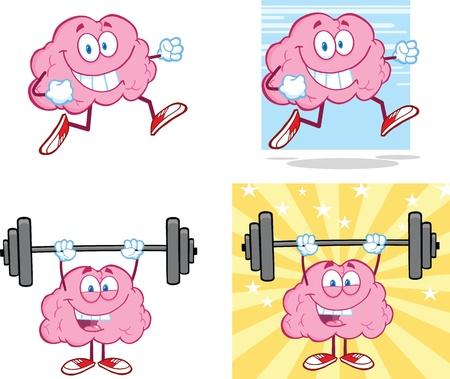 critical: Brain Cartoon Mascot Collection 14 Illustration
