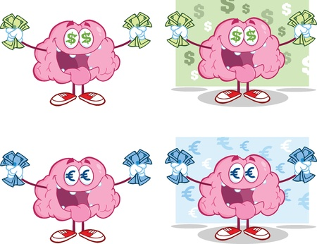 Brain Cartoon Mascot Collection 16
